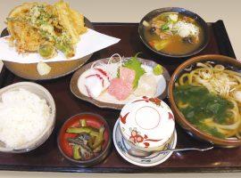手打うどん 笹子旬の恵に心躍る春限定メニュー「春野菜の天ぷらとお刺身御膳」
