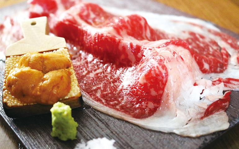 雲丹の和牛肉寿司
