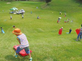 芝滑りを楽しむ子どもたちの様子
