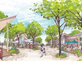 商業施設エリア(イメージ)では、ゆとりある広場空間を設けるなど、買い物や飲食などをゆっくりとくつろぎながら楽しめる