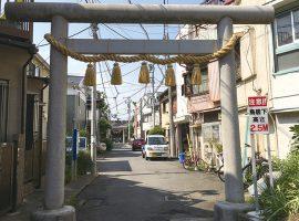 夏になると脇に大山灯篭が立つ二子神社鳥居