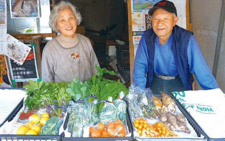 のらぼう菜、ホウレン草、あしたば、こごみ、わらび、ブロッコリー、レモン、すだち、たらのめ、さといもなど、さまざまな種類の野菜を販売する「臼井さんちの直売所」