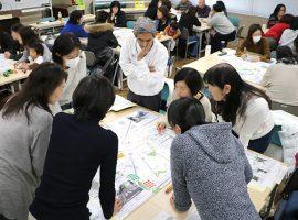 第2部の意見交換会では出た意見を地図に落とし込んだ。区はこれを基に毎年小学1年生に配布しているセーフティーマップを更新する予定。