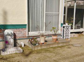 庭に芝生を敷き、ドッグランに改装。足を洗うシャワープレイスを設置