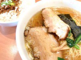 本日仕込みの叉焼2枚のせ醤油麺と温玉丼(税別950円)