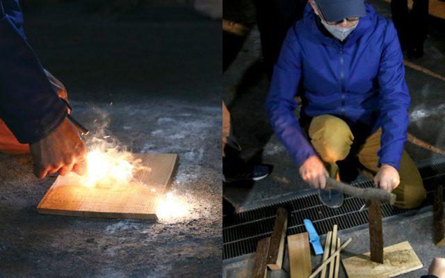 左/メタルマッチの着火体験右/フェザースティック作りのために薪割り