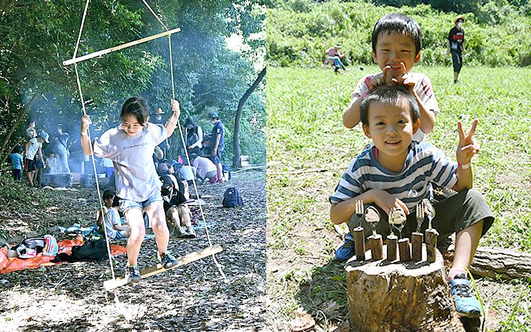 「四ツ田プレイパーク」で遊ぶ子どもたち